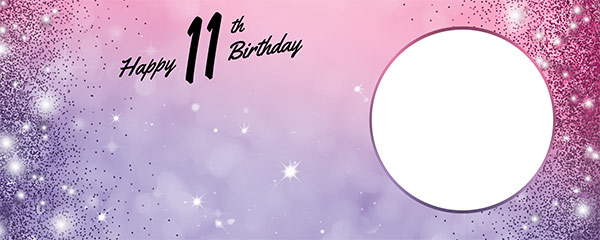 Happy 11th Birthday Sparkles Pink Purple Design Small Personalised Banner – 4ft x 2ft