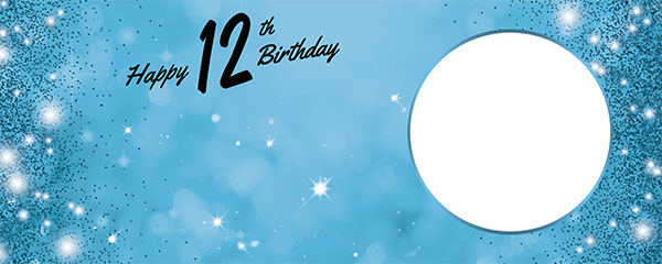 Happy 12th Birthday Sparkles Baby Blue Design Medium Personalised Banner – 6ft x 2.25ft