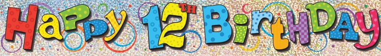 Happy 12th Birthday Prismatic Foil Banner 365cm Product Image