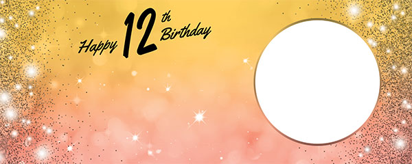 Happy 12th Birthday Sparkles Gold Pink Design Medium Personalised Banner – 6ft x 2.25ft