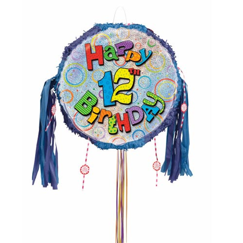 Happy 12th Birthday Holographic Pull String Pinata Product Image