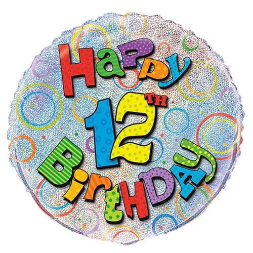 Happy 12th Birthday Holographic Round Foil Helium Balloon 46cm / 18Inch
