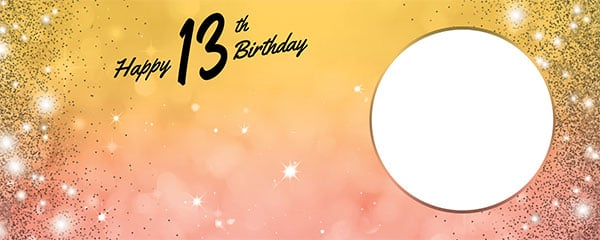 Happy 13th Birthday Sparkles Gold Pink Design Large Personalised Banner – 10ft x 4ft