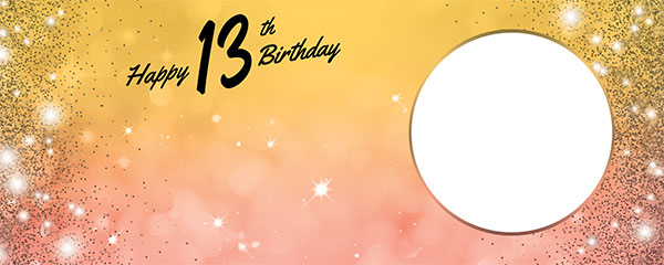 Happy 13th Birthday Sparkles Gold Pink Design Medium Personalised Banner – 6ft x 2.25ft