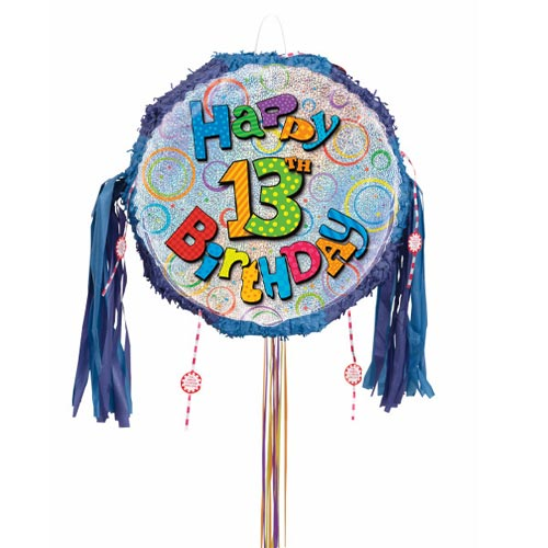 Happy 13th Birthday Holographic Pull String Pinata Product Image