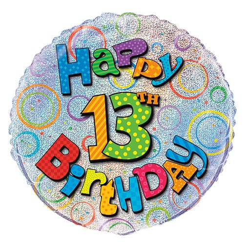 Happy 13th Birthday Holographic Round Foil Helium Balloon 46cm / 18Inch