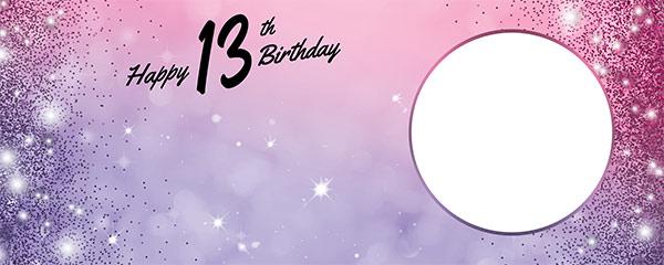 Happy 13th Birthday Sparkles Pink Purple Design Medium Personalised Banner – 6ft x 2.25ft