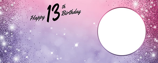 Happy 13th Birthday Sparkles Pink Purple Design Small Personalised Banner – 4ft x 2ft