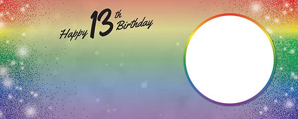 Happy 13th Birthday Rainbow Sparkles Design Medium Personalised Banner – 6ft x 2.25ft