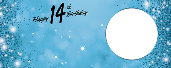Happy 14th Birthday Sparkles Baby Blue Design Medium Personalised Banner – 6ft x 2.25ft
