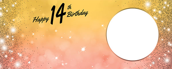 Happy 14th Birthday Sparkles Gold Pink Design Medium Personalised Banner – 6ft x 2.25ft