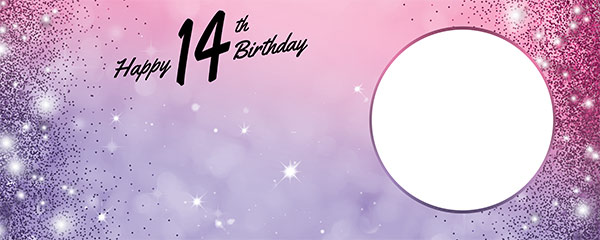 Happy 14th Birthday Sparkles Pink Purple Design Small Personalised Banner – 4ft x 2ft