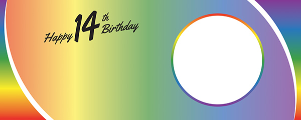 Happy 14th Birthday Rainbow Ombre Design Small Personalised Banner – 4ft x 2ft