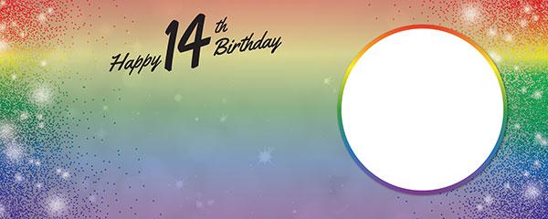 Happy 14th Birthday Rainbow Sparkles Design Medium Personalised Banner – 6ft x 2.25ft