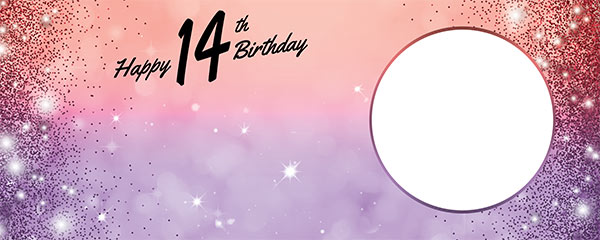 Happy 14th Birthday Sparkles Red Purple Design Medium Personalised Banner – 6ft x 2.25ft