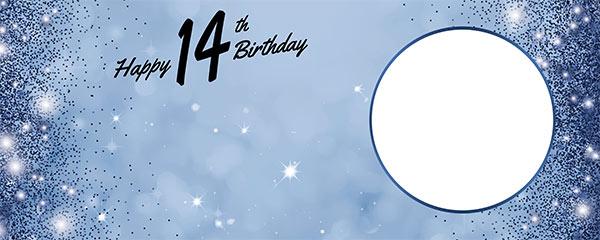 Happy 14th Birthday Sparkles Royal Blue Design Medium Personalised Banner – 6ft x 2.25ft