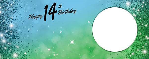 Happy 14th Birthday Sparkles Blue Green Design Small Personalised Banner – 4ft x 2ft