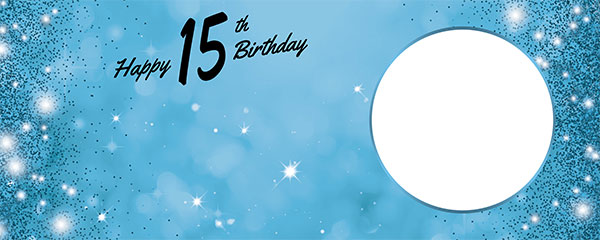 Happy 15th Birthday Sparkles Baby Blue Design Medium Personalised Banner – 6ft x 2.25ft