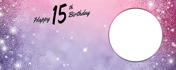 Happy 15th Birthday Sparkles Pink Purple Design Medium Personalised Banner – 6ft x 2.25ft