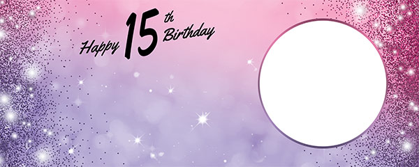 Happy 15th Birthday Sparkles Pink Purple Design Small Personalised Banner – 4ft x 2ft