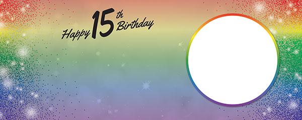 Happy 15th Birthday Rainbow Sparkles Design Medium Personalised Banner – 6ft x 2.25ft