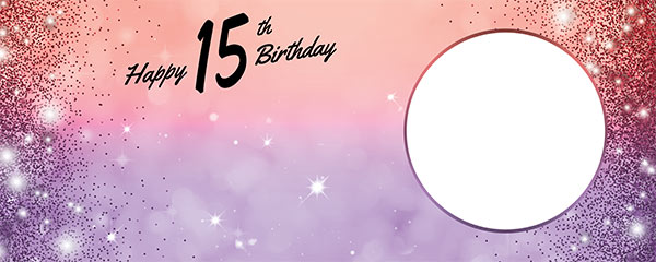 Happy 15th Birthday Sparkles Red Purple Design Medium Personalised Banner – 6ft x 2.25ft