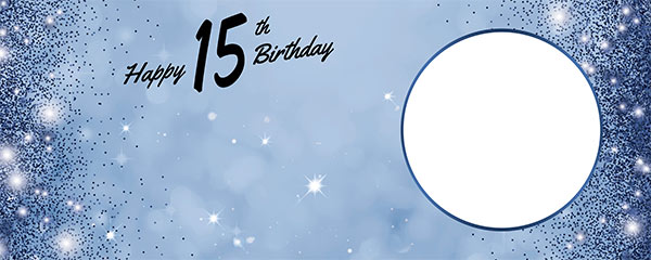 Happy 15th Birthday Sparkles Royal Blue Design Large Personalised Banner – 10ft x 4ft