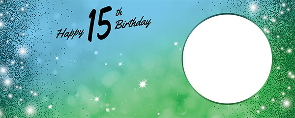 Happy 15th Birthday Sparkles Blue Green Design Medium Personalised Banner – 6ft x 2.25ft