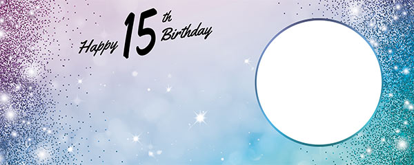 Happy 15th Birthday Sparkles Blue Pink Design Medium Personalised Banner – 6ft x 2.25ft