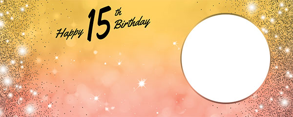 Happy 15th Birthday Sparkles Gold Pink Design Medium Personalised Banner – 6ft x 2.25ft