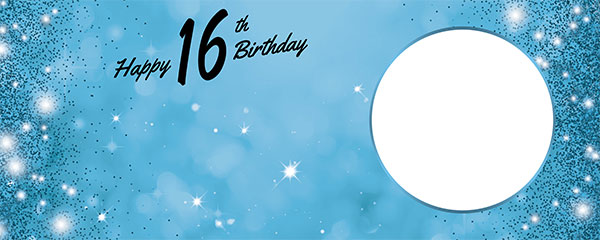 Happy 16th Birthday Sparkles Baby Blue Design Medium Personalised Banner – 6ft x 2.25ft