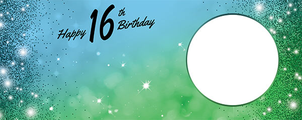 Happy 16th Birthday Sparkles Blue Green Design Medium Personalised Banner – 6ft x 2.25ft