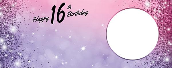 Happy 16th Birthday Sparkles Pink Purple Design Medium Personalised Banner – 6ft x 2.25ft