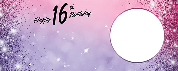 Happy 16th Birthday Sparkles Pink Purple Design Small Personalised Banner – 4ft x 2ft