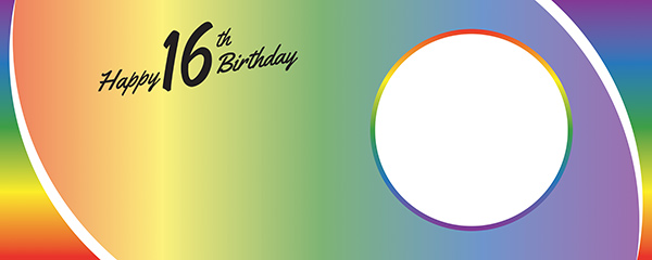 Happy 16th Birthday Rainbow Ombre Design Large Personalised Banner – 10ft x 4ft