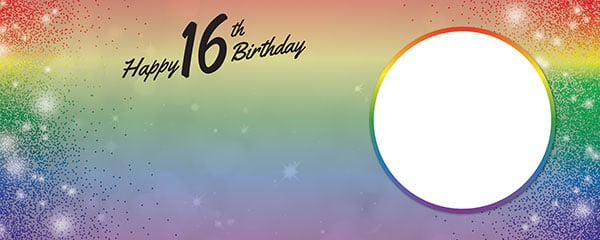 Happy 16th Birthday Rainbow Sparkles Design Small Personalised Banner – 4ft x 2ft