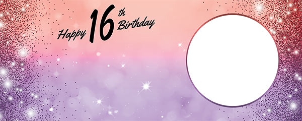 Happy 16th Birthday Sparkles Red Purple Design Medium Personalised Banner – 6ft x 2.25ft