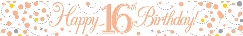 Happy 16th Birthday Rose Gold Holographic Foil Banner 2.7m