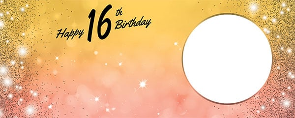 Happy 16th Birthday Sparkles Gold Pink Design Small Personalised Banner – 4ft x 2ft