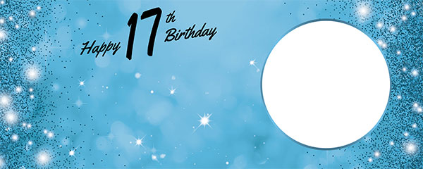 Happy 17th Birthday Sparkles Baby Blue Design Medium Personalised Banner – 6ft x 2.25ft
