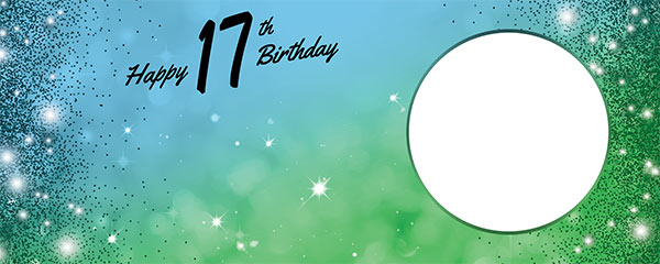 Happy 17th Birthday Sparkles Blue Green Design Medium Personalised Banner – 6ft x 2.25ft