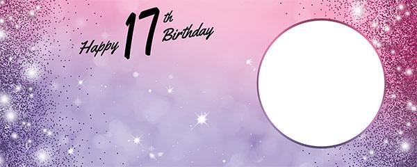 Happy 17th Birthday Sparkles Pink Purple Design Medium Personalised Banner – 6ft x 2.25ft