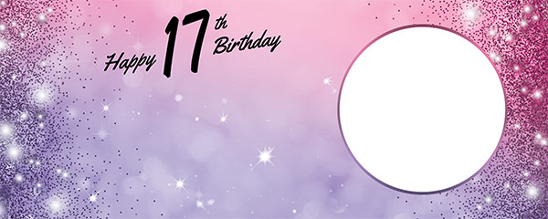 Happy 17th Birthday Sparkles Pink Purple Design Small Personalised Banner – 4ft x 2ft