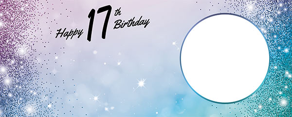 Happy 17th Birthday Sparkles Blue Pink Design Medium Personalised Banner – 6ft x 2.25ft