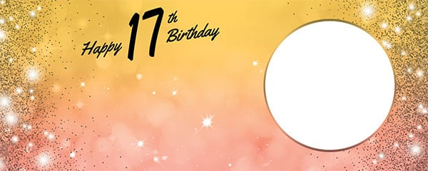 Happy 17th Birthday Sparkles Gold Pink Design Medium Personalised Banner – 6ft x 2.25ft