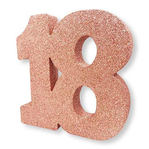 Number 18 Rose Gold Glitter Table Decoration 20cm Product Image