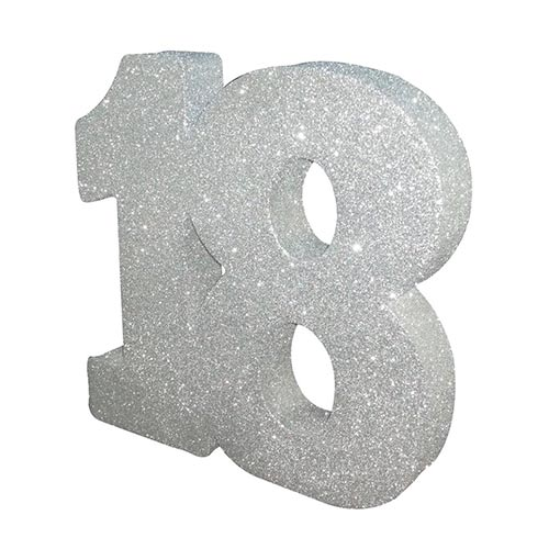 Number 18 Silver Glitter Table Decoration 20cm