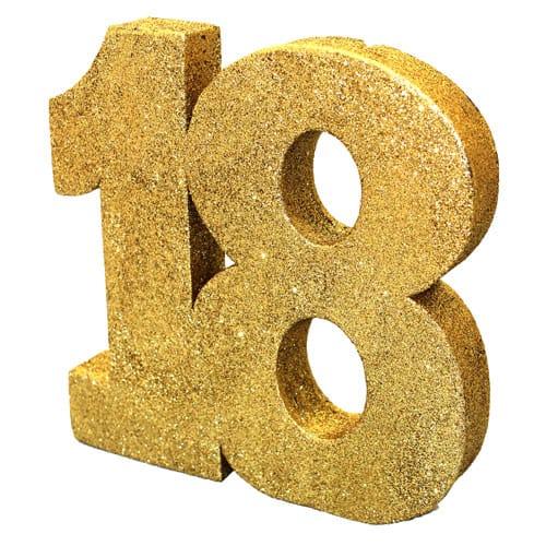 Happy 18 Birthday Gold Glitter Table Decoration