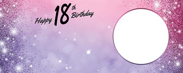 Happy 18th Birthday Sparkles Pink Purple Design Medium Personalised Banner – 6ft x 2.25ft