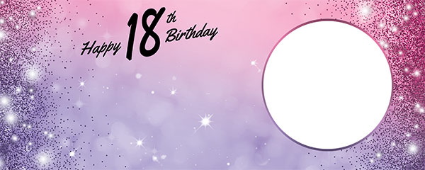 Happy 18th Birthday Sparkles Pink Purple Design Small Personalised Banner – 4ft x 2ft